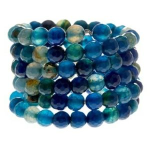 SAVVY CIE Faceted blue agate wrap bracelet